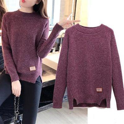 2018新款韩版低领毛衣女士套头短款宽松百搭针织衫打底衫长袖线衣