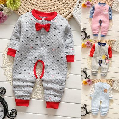 婴儿连体衣秋冬夹棉加厚保暖哈衣男女宝宝外出服新生儿爬服0-1岁