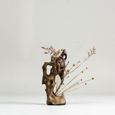 粗陶小花瓶太湖石摆件奇石假山中式手工陶瓷创意水培禅意茶道花插