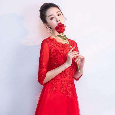 敬酒服新娘红色2019结婚新款春蕾丝中长款优雅显瘦宴会晚礼服裙女【3月1日发完】