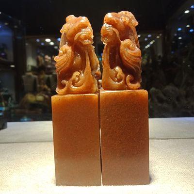 寿山石老挝石2.5*2.5*10cm方章情侣对章篆刻印章结婚送礼自用