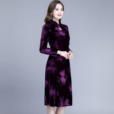 妈妈装金丝绒连衣裙中长款中老年大码春秋季修身加绒加厚旗袍裙子