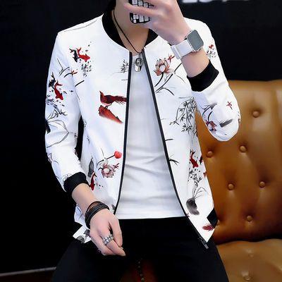 2020春季外套男士新款韩版潮流学生印花夹克棒球服衣服男春装潮流