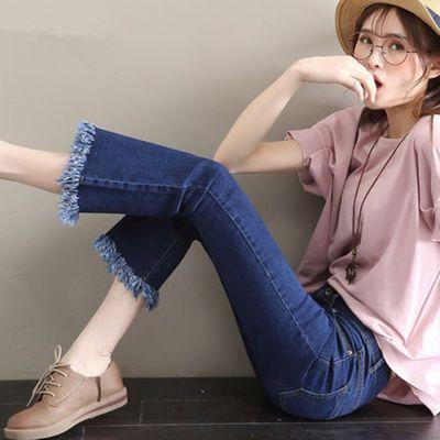 2020春不规则流苏喇叭牛仔裤女学生新款韩版九分喇叭裤女高腰显瘦