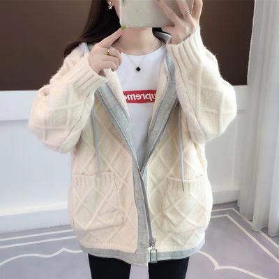2020春季韩版假两件卫衣拼接短款毛衣开衫外套女连帽很仙的针织衫