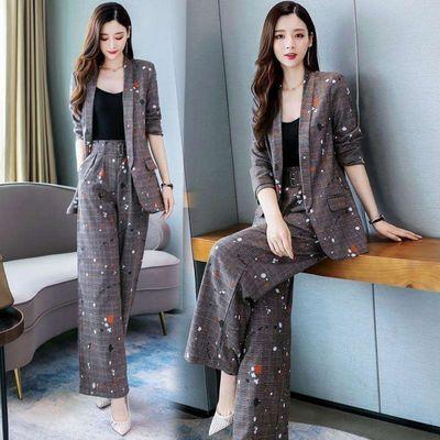 2019春秋季新款时尚气质韩版职业女神范两件套西装洋气减龄套装女