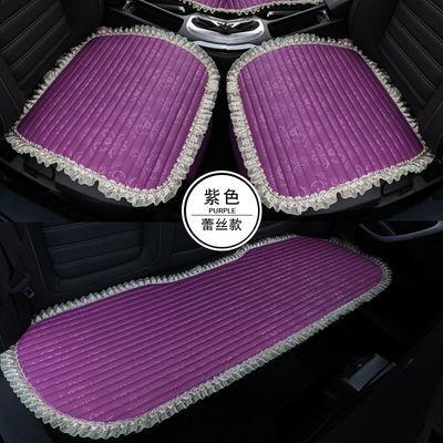 夏季亚麻四季通用座套防滑三件套座垫无靠背蕾丝车垫单片汽车坐垫