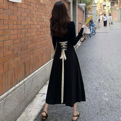 2020春季新款花边长袖针织衫+绑带收腰半身裙两件套时尚套装女装