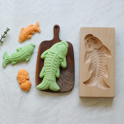 大号立体南瓜饼绿豆糕点心蒸馒头面食烘焙糕板印木质模具鱼形