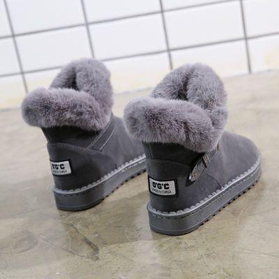 棉鞋女冬皮面雪地靴女短筒靴休闲保暖鞋子女学生平底防滑女靴子潮