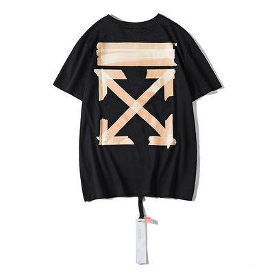 潮牌OFF WHITE胶条基础箭头款短袖油漆涂鸦T恤男女宽松纯棉短袖t