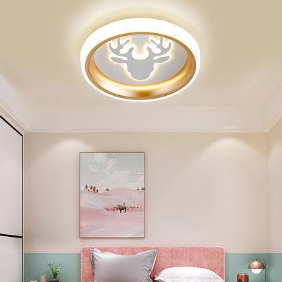 led北欧现代简约家用吸顶灯可爱男女孩公主房间灯变光创意卧室灯