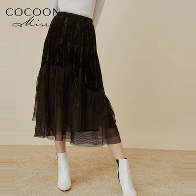 miss COCOON2019冬装新款女装文艺复古丝绒拼接网纱松紧半身裙子