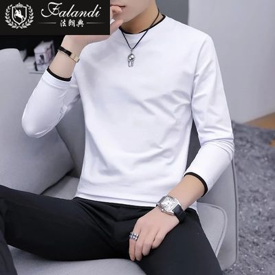 FLANDI长袖t恤 男2019春装新款假两件潮流韩版棉打底衫男士卫衣