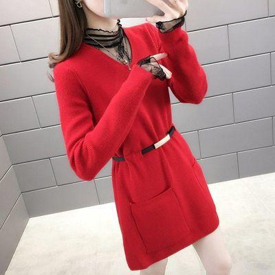 冬季蕾丝领假两件中长款新款套头毛衣女宽松韩版显瘦针织衫打底裙