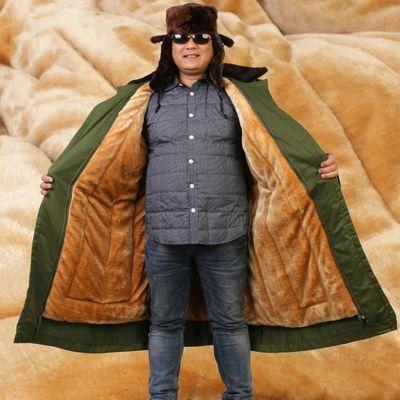 军大衣男冬季加厚棉大衣长款防寒可拆卸保安大衣劳保军绿色黄大衣