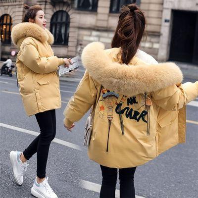 棉衣2019冬季连帽刺绣时尚韩版棉服大毛领显瘦面包服女