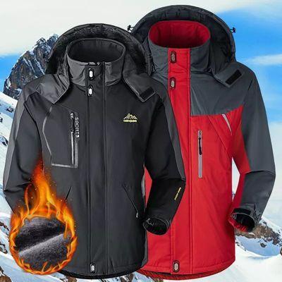 情侣款300斤大码冲锋衣男加绒加厚户外滑雪服女防风登山棉衣外套
