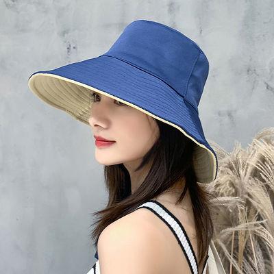 帽子女春秋季潮流韩版时尚渔夫帽双面纯色防晒夏天遮阳款大檐盆帽