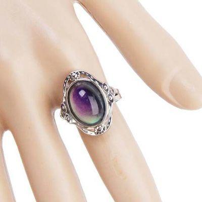 远方情心情感温变色戒指女宫廷指环可调开口食指戒复古情侣戒J8
