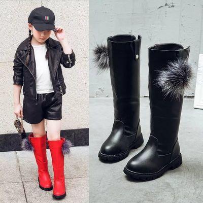 亲子鞋26-40码冬季加绒保暖女童靴子中大童高帮公主冬款加厚高筒