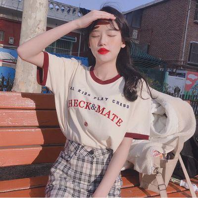 2020夏季流行新款宽松百搭刺绣字母撞色包边套头T恤衫短袖上衣女
