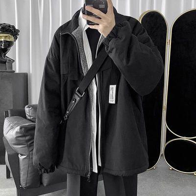 子俊男装潮牌工装棉服冬季羊羔毛加绒加厚棉袄韩版宽松棉衣外套男