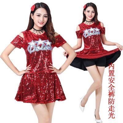 啦啦操广场舞演出服爵士舞蹈服装女成人现代街舞嘻哈亮片舞台装裙