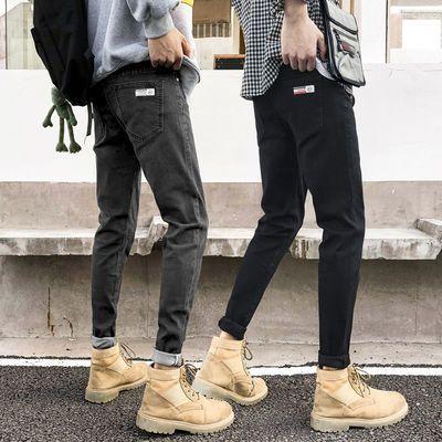 春季潮牌配马丁靴的男士牛仔裤男小脚靴裤韩版潮流弹力休闲长裤子