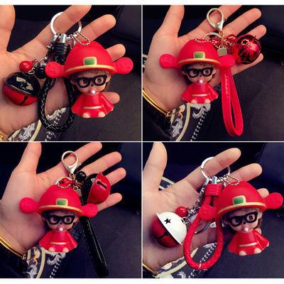 韩版卡通蒙奇奇钥匙扣创意可爱铃铛汽车钥匙链情侣包包挂件小礼品