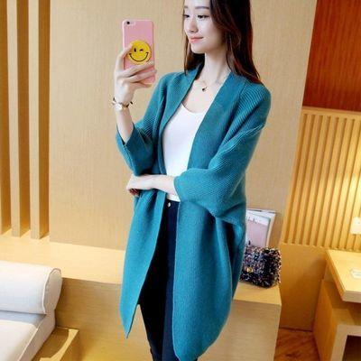 春装新款蝙蝠袖大码女装 韩版中长款宽松纯色毛衣女针织开衫外