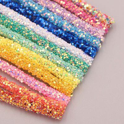 6mm亮片彩虹管金葱粉软条管diy发饰头饰彩虹发夹女童发夹材料配件