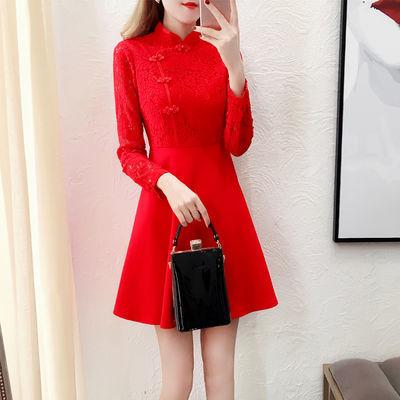 新娘服装连衣裙2020新款红色裙子女结婚敬酒服小个子成人礼服旗袍