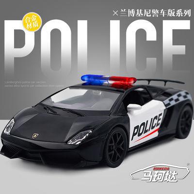 马珂��1:36兰博基尼盖拉多警车合金车模儿童玩具车汽车模型回力车