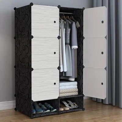 简易布衣柜收纳架塑料实木推拉门双人钢管加粗加固新款卧室家具柜