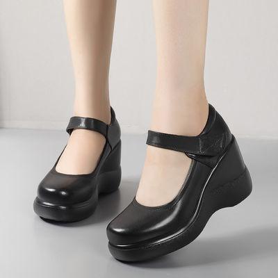 春秋女鞋厚底坡跟浅口单鞋高跟女士皮鞋魔术贴圆头松糕中年妈妈鞋