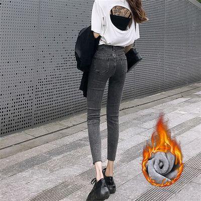 加绒加厚牛仔裤女九分裤秋冬韩版高腰弹力紧身显瘦小脚长裤