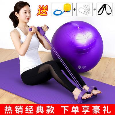 运动瑜伽垫套装 初学者瑜伽三件套拉力器防爆瑜伽球 加厚加长垫子【2月29日发完】