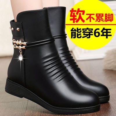 妈妈棉鞋女冬季真皮平底防滑皮鞋女加绒靴子女短靴中年女士棉靴女