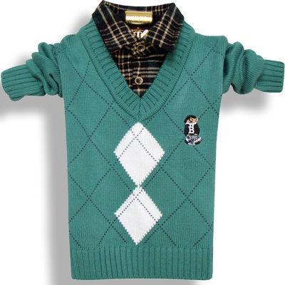 新款男童装毛衣小孩打底衫宝宝线衣春秋冬儿童衬衫领假两件针织衫