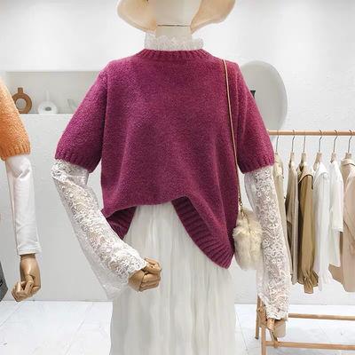 韩版2020春款蕾丝拼接套头短袖毛衣女可拆卸二件套针织衫衫女装潮【2月22日发完】