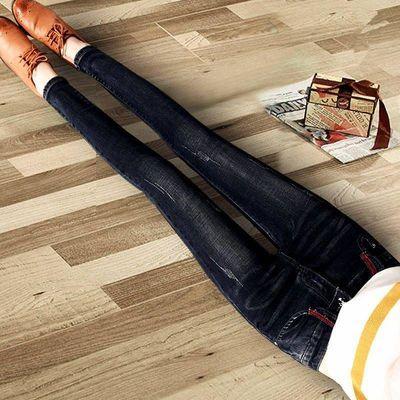 牛仔裤女高腰裤子女学生韩版秋冬季韩版弹力百搭显瘦小脚铅笔裤子