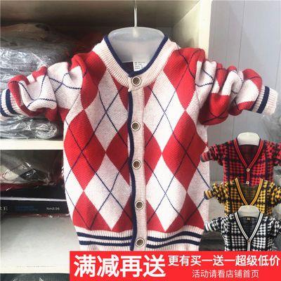 秋冬童装上衣男童毛衣开衫儿童羊绒衫加厚V领中大童保暖羊毛外套