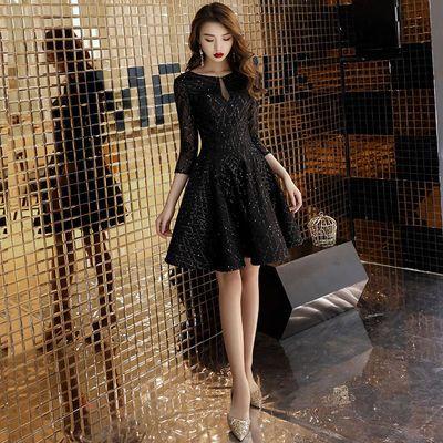 宴会短款黑色晚礼服女2020新款派对聚会长袖法式小礼服年会连衣裙