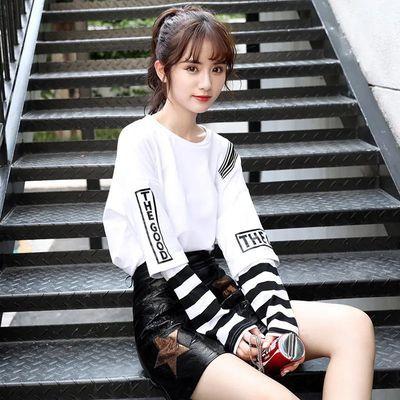 网红长袖假两件t恤女韩版早春衣服春装学生打底衫秋百搭秋季上衣