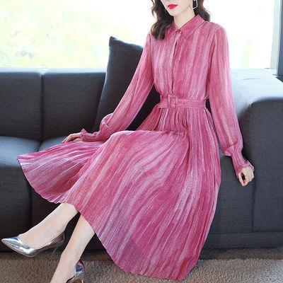 2020春季新款腰带收腰显瘦气质中长款灯笼长袖子衬衫百褶连衣裙女