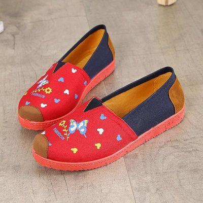 新款平底女士休闲帆布鞋女装休闲女式百搭浅口40大码套脚懒人鞋子