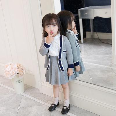 女童春秋季新款童装学院风针织上衣开衫加小短裙连衣裙套装