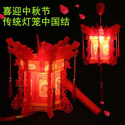 元宵节热卖发光六角龙手提灯笼闪光音乐中国结小灯笼儿童玩具批发