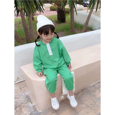 秋款女童运动套装儿童圆领上衣+长裤时尚两件套童装